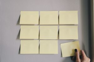 Blank post-it notes on wall representing help for internal IT staff - Inderly IT (Toronto)